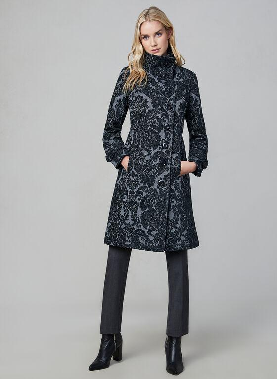 Manteau mi-long à motif tapisserie, Gris