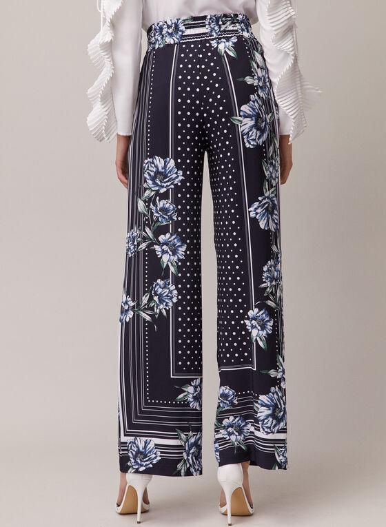 Joseph Ribkoff - Multi Print Wide Leg Pants, Blue