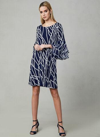 Sandra Darren - Dot Print Shift Dress, Blue, hi-res,