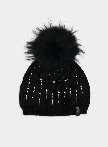 Tuque à cristaux et pompon amovible, Noir, hi-res,  tuque, laine mélangée, cristaux, perles, pompon, fausse fourrure, amovible, automne hiver 2019