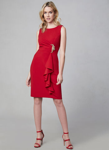 Cachet - Draped Sheath Dress, Red, hi-res,  sleeveless, open back, crystal details