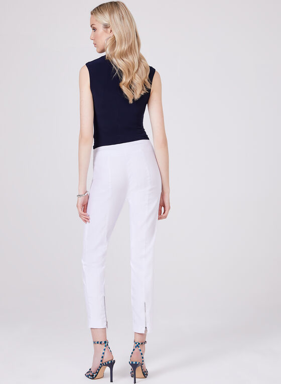 Zip Detail Ankle Pants, White, hi-res
