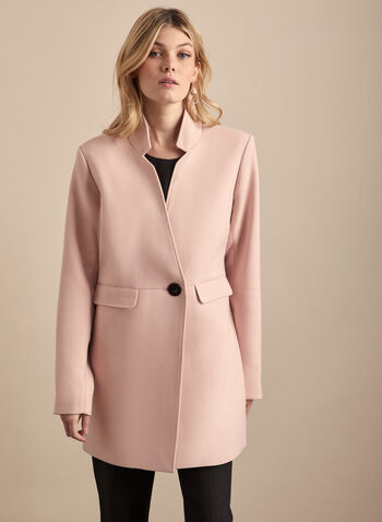 Novelti - Inverted Notch Collar Coat, Pink,  coat, inverted notch collar, long sleeves, single button, flap pockets, lined, shoulder pads, spring summer 2020