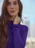 Ruffled Mock Neck Sweater, Purple