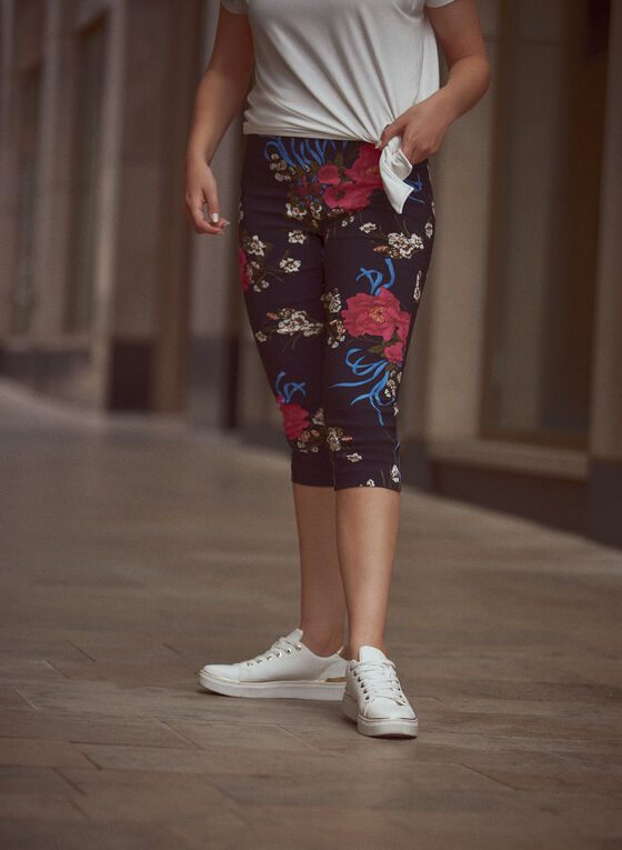 Floral Print Pull On Shorts, Black