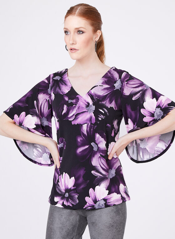 Floral Print Angel Sleeve Top , Purple, hi-res