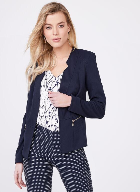 Vex - Open Front Jersey Jacket, Blue