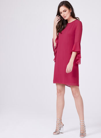 Vince Camuto – Layered Angel Sleeve Dress, Pink, hi-res