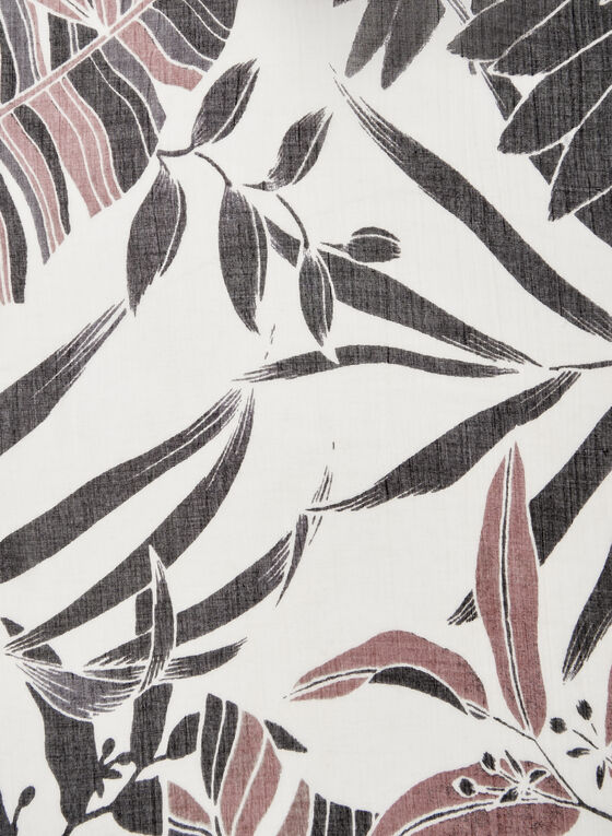Leaf Print Scarf, Grey, hi-res