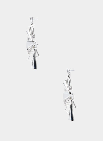 Triangular Cluster Dangle Earrings, Silver,  dangle earrings, triangular clusters, crystal inserts, fall 2019
