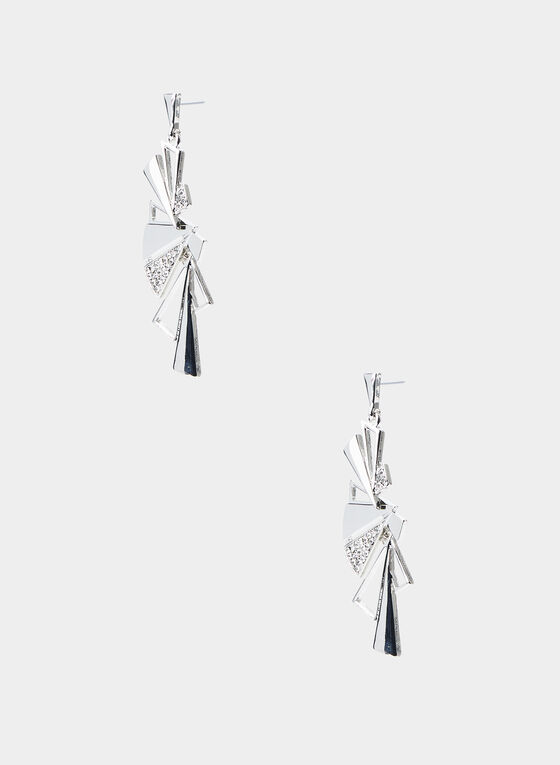 Triangular Cluster Dangle Earrings, Silver