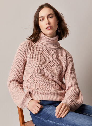 Turtleneck Puff Sleeve Sweater, Red,  top, sweater, knit, turtleneck, rib knit, fall winter 2020