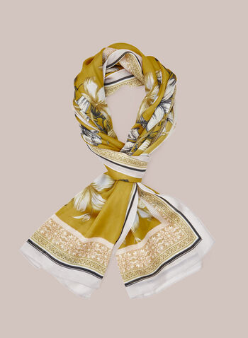 Floral Print Lightweight Scarf, Yellow,  fall winter 2020, scarf, floral, ornate, long, accessories