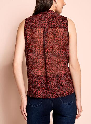 Leopard Print Tie Front Sheer Blouse, , hi-res