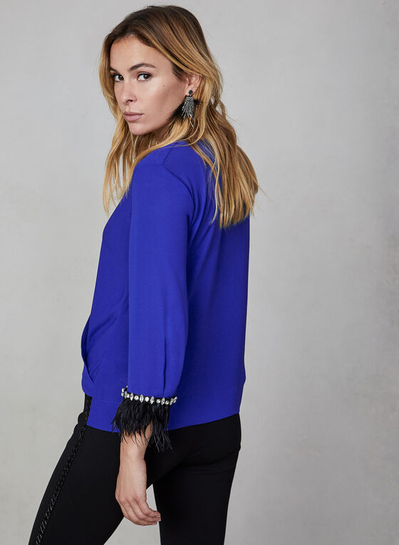 Feather Trim Blouse, Blue