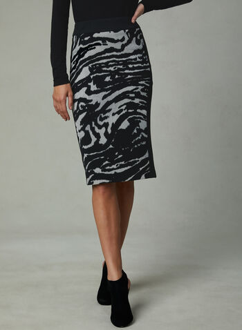 Abstract Print Pencil Skirt, Black, hi-res