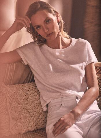 Alison Sheri - Linen Blend Tee, White,  spring summer 2021, Alison Sheri, designer, top, tee, t-shirt, shirt, crew, round neck, short sleeve, drop shoulder, soft, comfort, linen