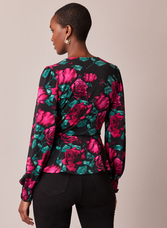 Floral Print Faux Crossover Top, Multi