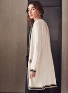 Cardigan long à bordures contrastantes , Blanc cassé
