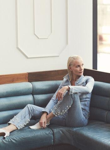 Joseph Ribkoff - Jeans à détails perlés , Bleu,  jeans, denim, perles, perlage, franges, poches, joseph ribkoff, frank lyman, printemps été 2021