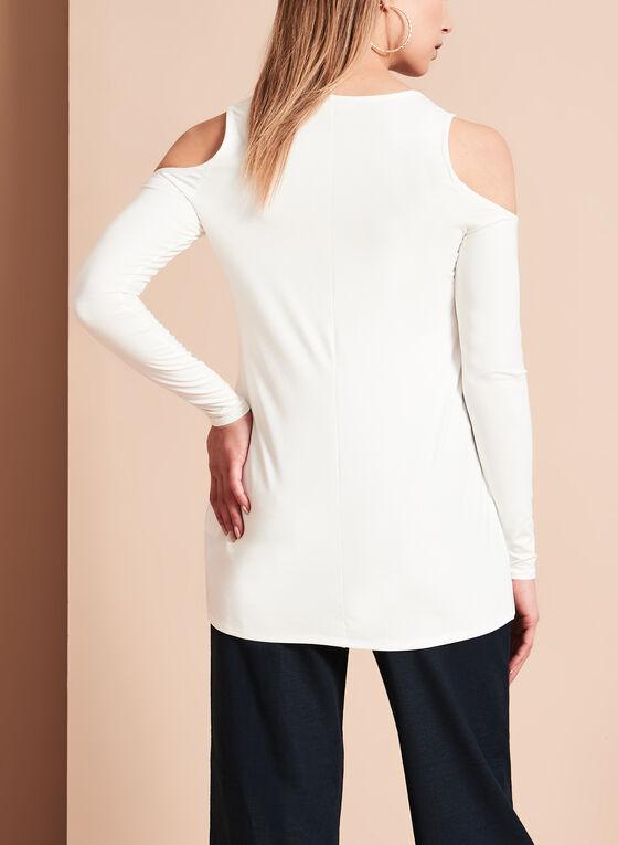 Long Sleeve Cold Shoulder Top, Off White, hi-res