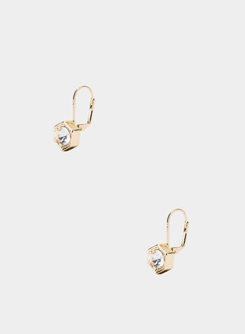 Hexagonal Stud Earrings, Gold,  stud earrings, hexagonal stones, fall 2019