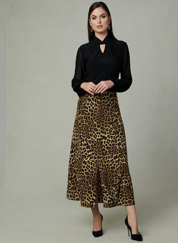 Leopard Print Skirt, Black, hi-res