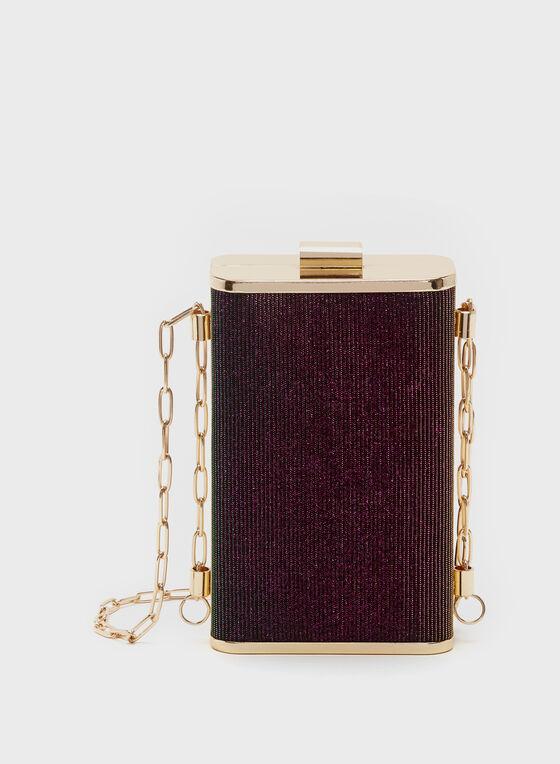 Metallic Box Clutch, Purple, hi-res
