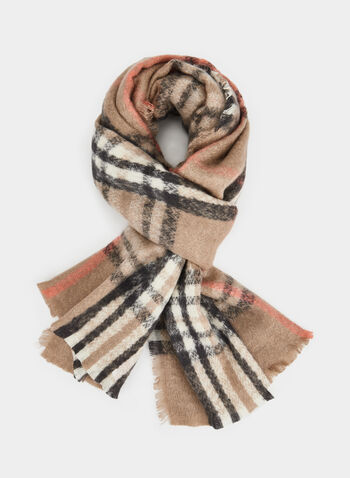 Plaid Print Scarf, Orange,  scarf, plaid print, plaid scarf, holiday, fall 2019, winter 2019