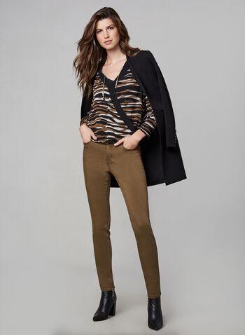 Jeans sculptant à jambe étroite, Brun, hi-res,  5 poches, panneau de maintien, ultra-doux, extensible, essentiel, denim, automne hiver 2019