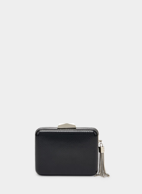 Metallic Tassel Box Clutch, Black