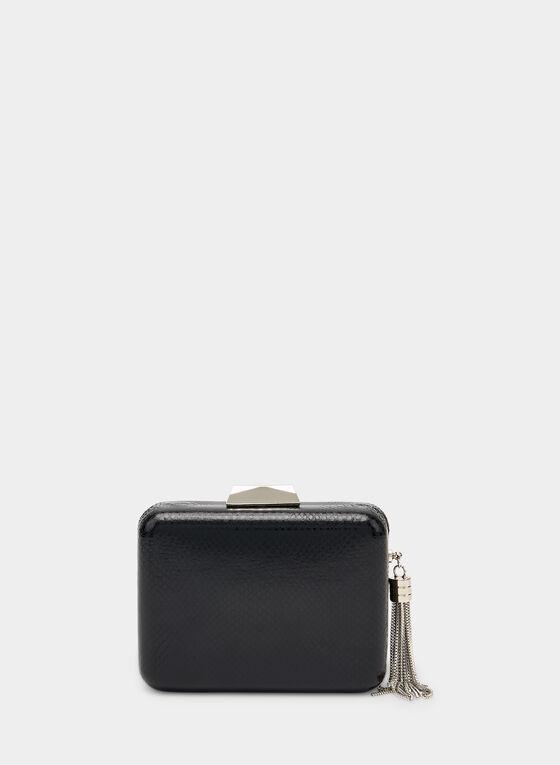 Metallic Tassel Box Clutch, Black, hi-res