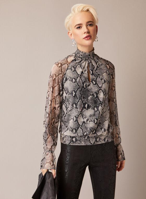 Snakeskin Print Smock Collar Blouse, Grey