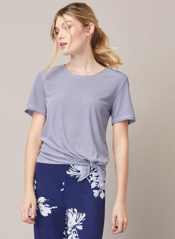 Pyjama à motif fleurs et rayures, Bleu