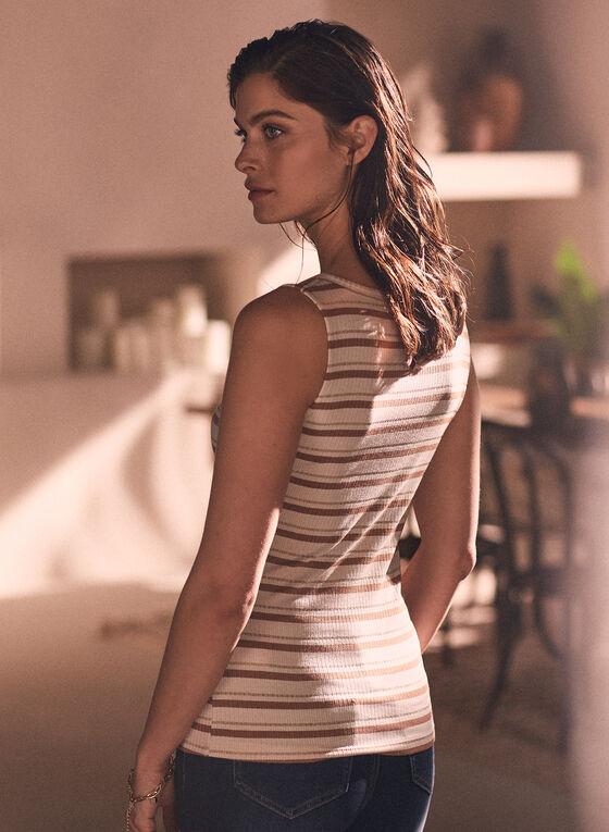 Metallic Stripe Sleeveless Top, White