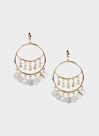 Shell Fringe Hoop Earrings, Off White, hi-res