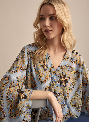 Baroque Print Chiffon Blouse, Blue,  blouse, handkerchief, bell sleeve, baroque, chiffon, crossover,