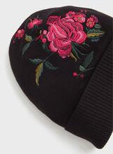 Tuque tricotée à broderie florale, Noir, hi-res