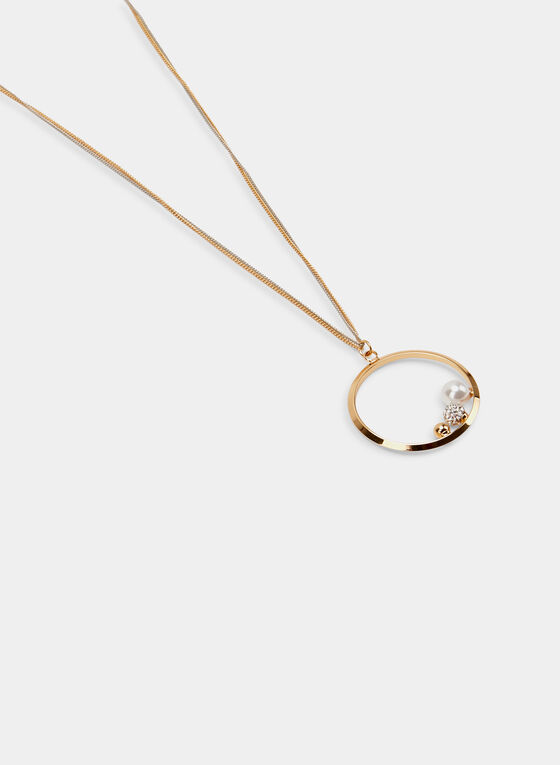 Pendant Chain Necklace, Off White, hi-res