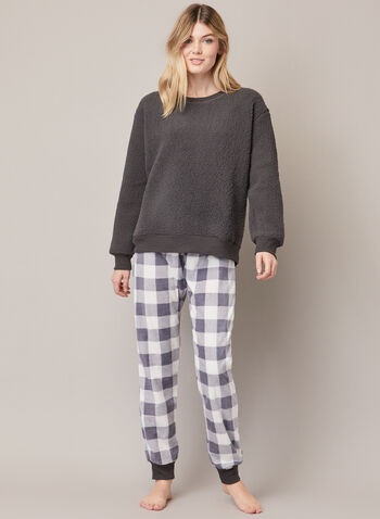 Check Print & Fleece Pyjama Set, Grey,  fall winter 2020, pyjama, set, fleece