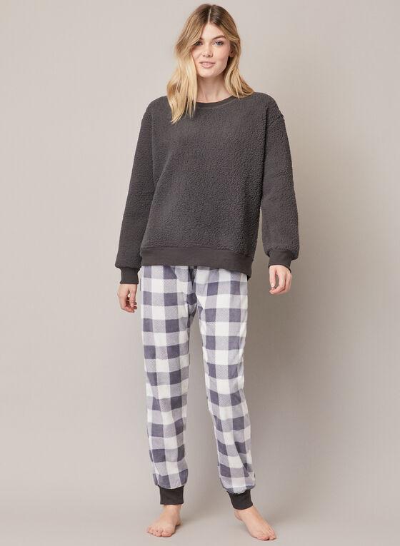 Pyjama en polaire et motif de carreaux, Gris