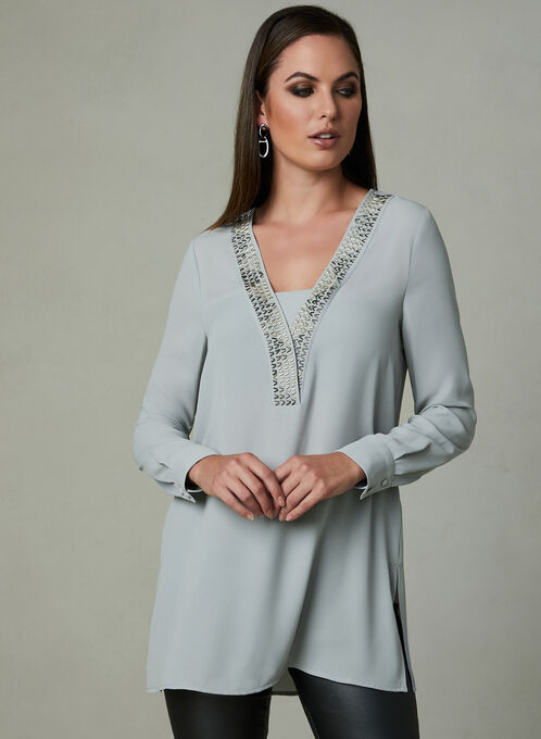 Beaded V-Neck Tunic Blouse, Silver, hi-res