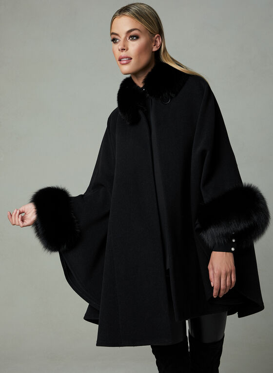 Mallia – Fox Fur Trim Wool Cape, Black, hi-res
