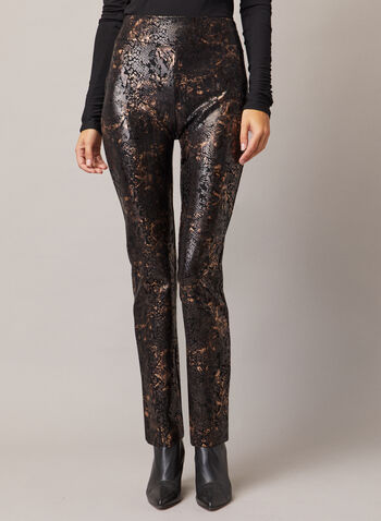 Snake Print Pull-On Pants, Black,  pants, snake print, pull-on, slim, metallic, ponte di roma, fall winter 2020
