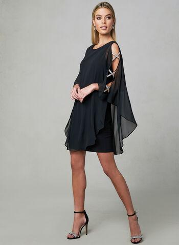 Xscape - Robe en mousseline à détails cristaux, Noir, hi-res