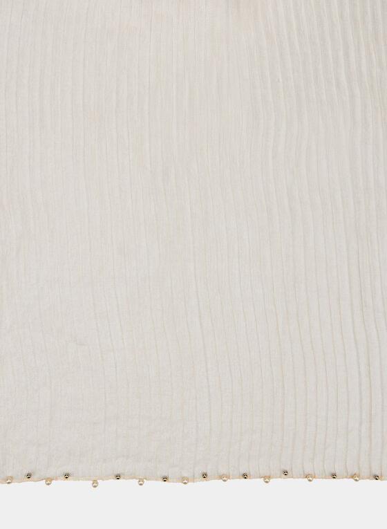 Foulard léger plissé à détails perles, Blanc cassé