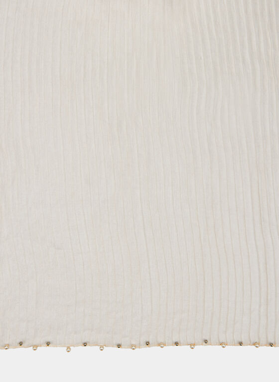 Pearl Embellished Scarf, Off White, hi-res