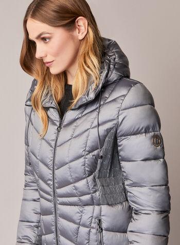 Bernardo - Manteau compressible EcoPlume™, Argent,  automne hiver 2020, manteau, manteau d'hiver, compressible, matelassé, capuchon, EcoPlume, cintré, poches, zip, glissière, Bernardo, duvet, végane