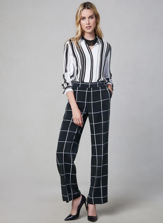 Windowpane Wide Leg Pants, Black