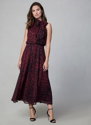 Leopard Print Chiffon Dress, Red,  fall winter 2019, dress, leopard print, chiffon